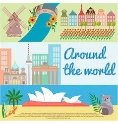 Traveling around the world Holland Berlin Australi vector