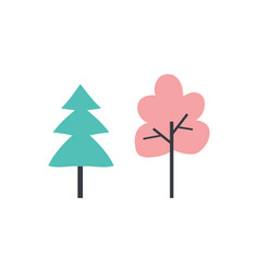 Trees pine with branches natural plants vector
