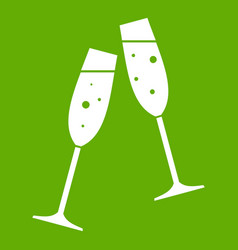 two glasses of champagne icon green vector image