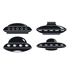 Ufo ship icon set simple style vector
