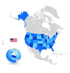 usa high detail blue map set vector image
