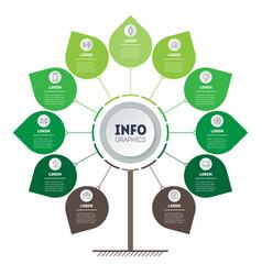 vertical green timeline infographics tree vector image