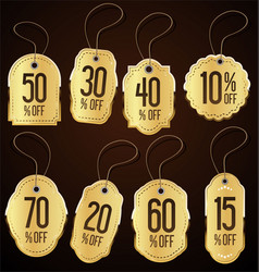 vintage style golden sale tags design collection vector image