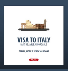 Visa to italy travel to italy document for vector
