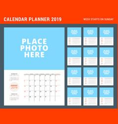 Wall calendar planner template for 2019 year week vector