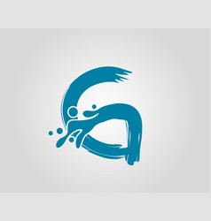 Water splash initial g letter logo icon blue vector