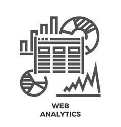 Web analytics line icon vector