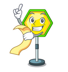 With menu road traffic sign on the cartoon vector