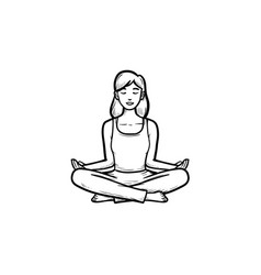woman in yoga lotus pose hand drawn outline doodle vector image