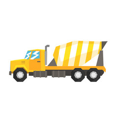 Yellow concrete mixer truck heavy industrial vector