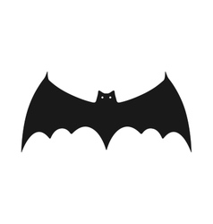 Black silhouette of bat Flat icon object vector image