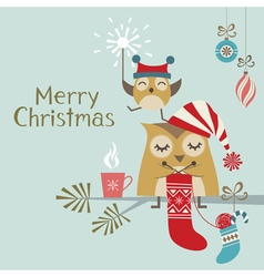 Cute Christmas owls vector image