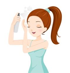 Girl spraying hair vector