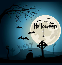 halloween background graveyard with crosses and vector image vector image