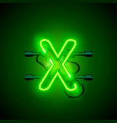 neon font letter x art design singboard vector image