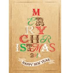 Poster Tree Christmas Happy Kraft color vector image