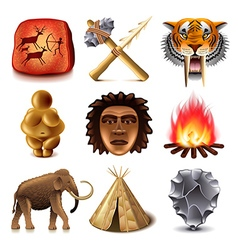 Prehistoric people icons set vector image