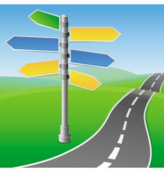 road sign with different directions vector image vector image