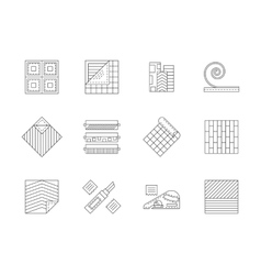 Set of building materials flat line icons vector image