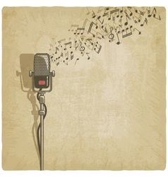 Vintage background with microphone vector image vector image