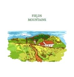 Colorful Farm Landscape Template vector image vector image