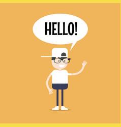 Friendly nerd saying hello and waving hand vector