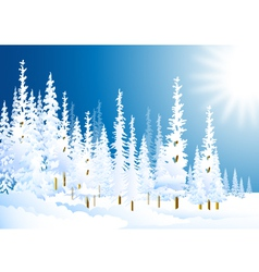 morning winter forest vector image vector image