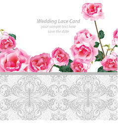 rose flowers and lace wedding invitation delicate vector image