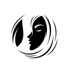 silhouette face and leaf vector image