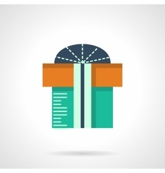 Christmas gift box flat color icon vector image