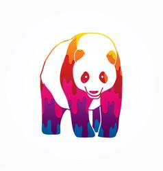 fat panda standing cartoon logo vector image vector image