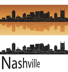 Nashville skyline in orange background vector image