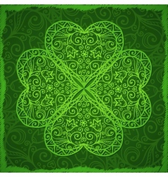 Ornate Saint Patricks Day background with clover vector image vector image