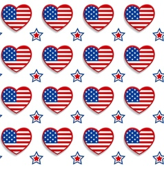 American seamless pattern with hearts and stars vector image vector image