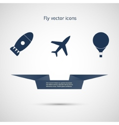 Flat icons aircraft missiles and balloon vector image