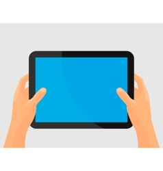 Hands holing tablet computer with blank screen vector image