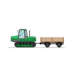 heavy caterpillar tractor with trailer icon vector image vector image
