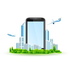 Icon Touch Screen Smart Phone with City vector image vector image