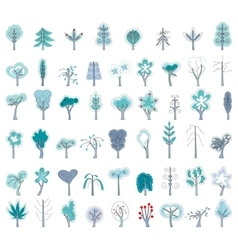Set with different winter trees on white For your vector image vector image
