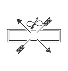 silhouette with crossed arrows on rectangle vector image vector image