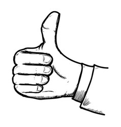 thumb up gesture line icon vector image vector image