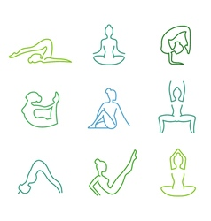 Yoga poses silhouettes set for woman health vector image vector image