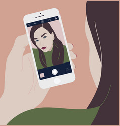 young brunette woman holding smartphone and making vector image vector image