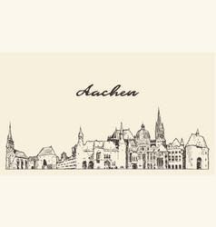 Aachen skyline north rhine westphalia germany draw vector