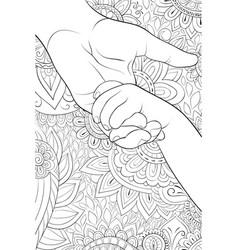 adult coloring bookpage atwo hands on the vector image