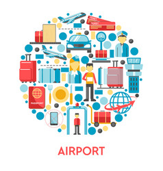 airport banner with air travel icons set in circle vector image
