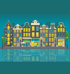 amsterdam city street with reflections at night vector image