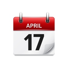 April 17 flat daily calendar icon Date vector