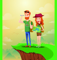 backpacker couple planning the route and looking vector image