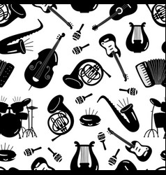 black and white music instruments seamless pattern vector image